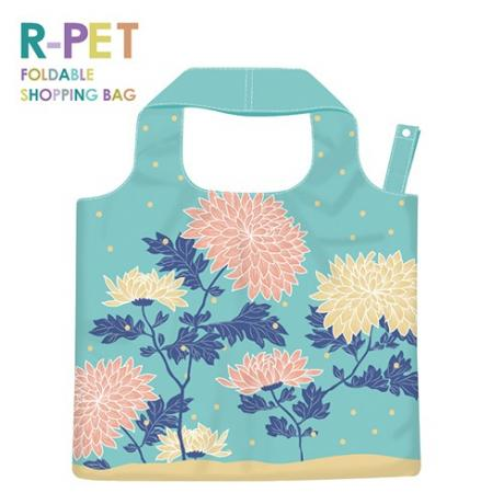L013-Dahlia-100% RPET Reusable Shopping Hand Bags, Foldable, Washable, Durable, Lightweight & Heavy Duty, Custom Logo Printing.