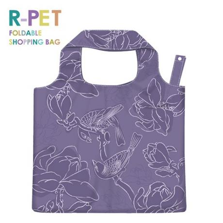L009-Purple Frosty Bird-100% R-PET Customized Reusable Grocery Tote Shopping Bags, Taiwan Bags Suppliers & Manufacturers, Promotional Gifts