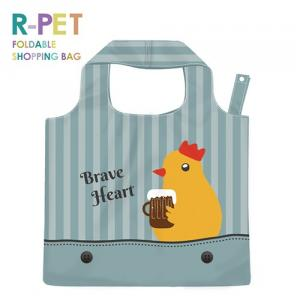L011-Brave Chick - 100% RPET Cute Animals Foldable Polyester Shopping Handbag, Washable, Lighgtweight, Large Size Grocery Tote Bags